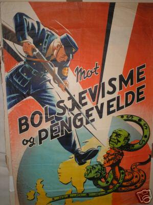 Пропагандистский плакат датских нацистов «Против большевизма и капитализма».
