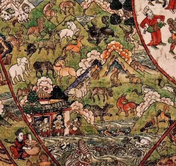 Тибетская тханка мир животных