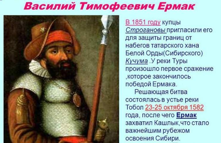 Тобол - история освоения Сибири. Обзор  событий и фактов. Ермак
