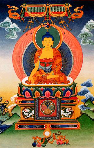 Ратнасамбхава — один из пяти Дхьяни-Будд в буддизме Ваджраяны, являющихся манифестацией первоначального Ади-будды. Эти пять будд соответствуют пяти осознаваемым аспектам реальности и пяти скандхам. Кожа жёлтого цвета.