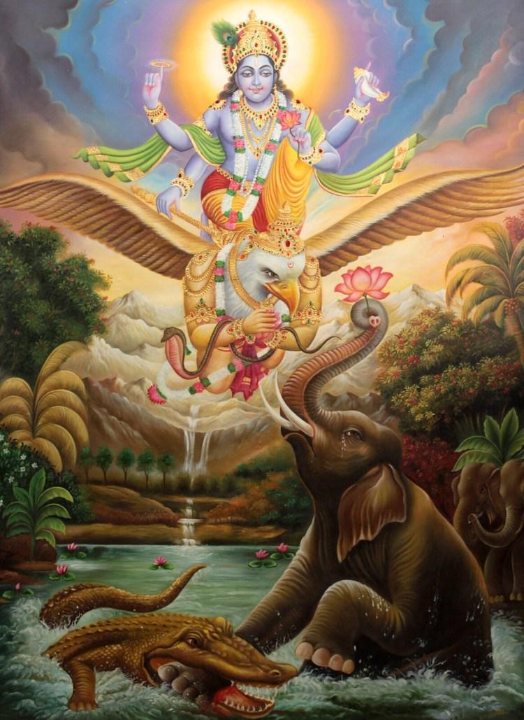 Кришнаиты. Кришна спасает слона из пасти крокодила