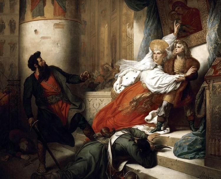 Царица Наталья Кирилловна спасает Петра от ярости стрельцов