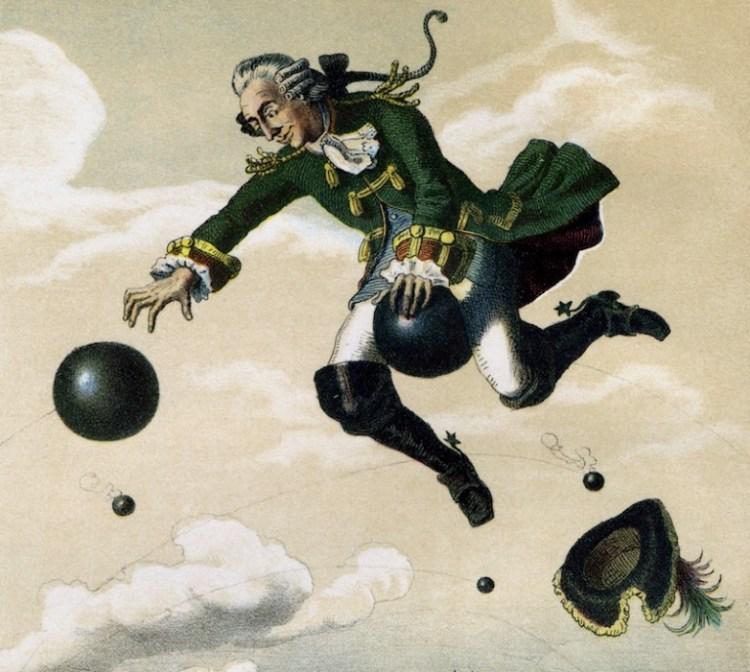 Барон Мюнхгаузен летит на ядре пушки