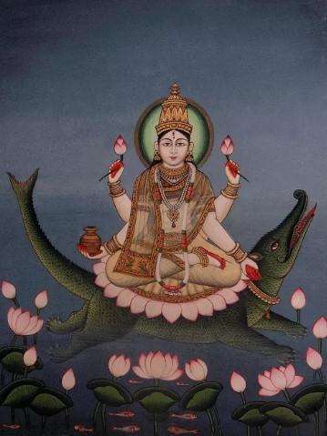 Богиня Ганга верхом на крокодиле