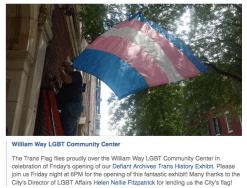 Trans Pride flag flies at William Way Center