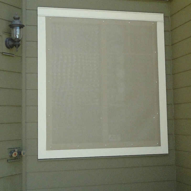Outdoor window shades exterior blinds on sale ez snap for Exterior window shade