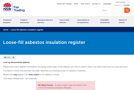 NSW State Government Loose Fill Asbestos Insulation Register Newcastle Property Investment and buyers agents
