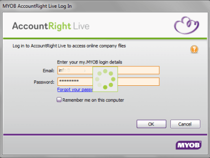 MYOB AccountRight Sign In Screen for MYOB Training Course
