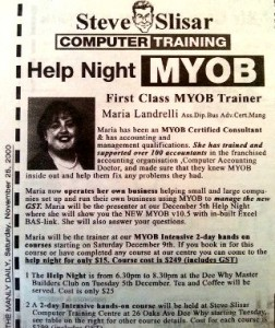 Maria Landrelli teaches MYOB for EzyLearn- online