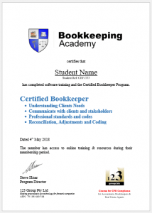 Bookkeeping Academy Certified Bookkeeper Program Certificate Image