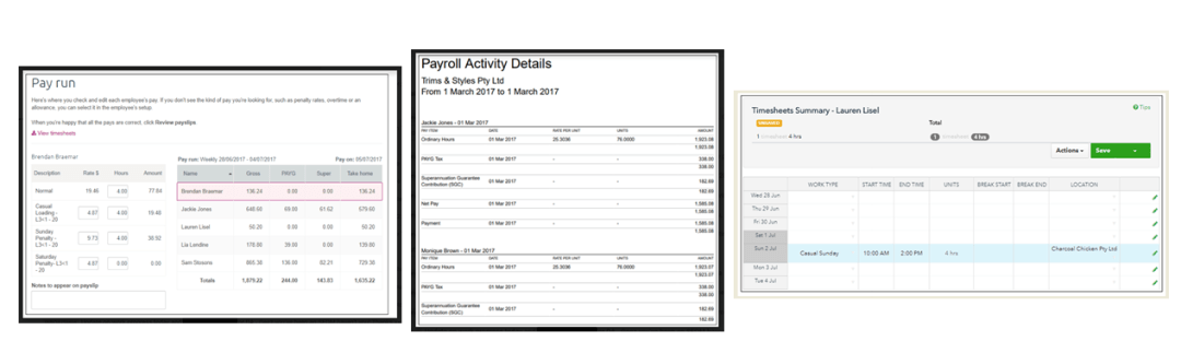 Payroll Payruns Timesheets MYOB Xero Intuit Quickbooks