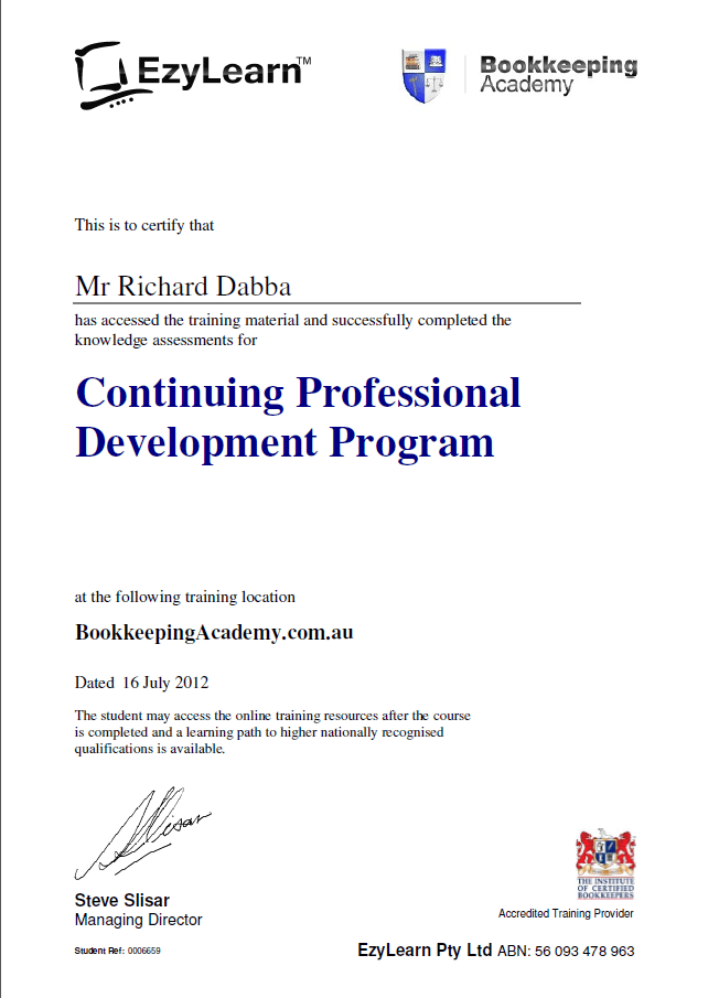 CPD program for MYOB training courses and bookkeeping students ...