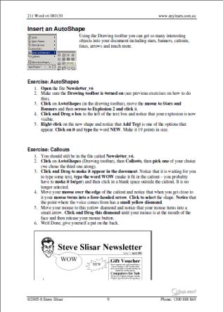 Microsoft Word Training Course Workbook 211