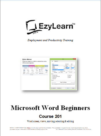 Title Page Thumbnail for Microsoft Word Beginners Training Course 201
