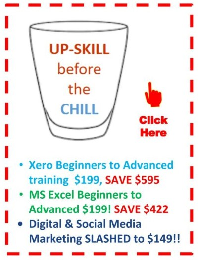 EzyLearn Online Courses - Upskill before the chill Ad - SPECIAL OFFERS, cheap, discounted, vouchers and coupons for Excel, MYOB, Xero Courses