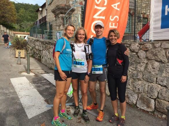 L'équipe de choc du trail de Gorbio, katia, Cécile, Brice et moi