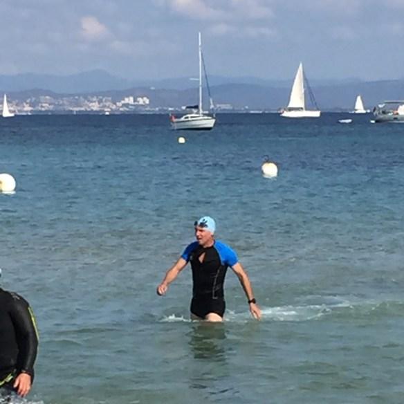 Triathlon de Porquerolles-sortie de l'eau Brice