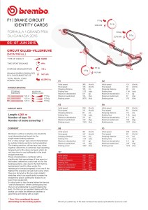 brembo Brake Circuit Identity Cards 2015 Rd.7 / CANADIAN GRAND PRIX
