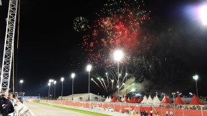 Fireworks at the end of the race at Formula One World Championship, Rd2, Bahrain Grand Prix Race, Bahrain International Circuit, Sakhir, Bahrain, Sunday 3 April 2016. © Sutton Motorsport Images