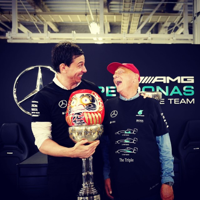 Toto Wolff (AUT) Mercedes AMG F1 Director of Motorsport and Niki Lauda (AUT) Mercedes AMG F1 Non-Executive Chairman at Formula One World Championship, Rd17, Japanese Grand Prix, After race, Suzuka, Japan, Sunday 9 October 2016. © Nico Rosberg
