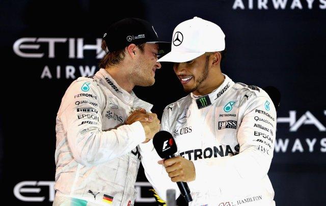 Nico Rosberg and Lewis Hamilton on Podium at Abu Dhabi Grand Prix 2016 / Tweet from Channel 4 F1.