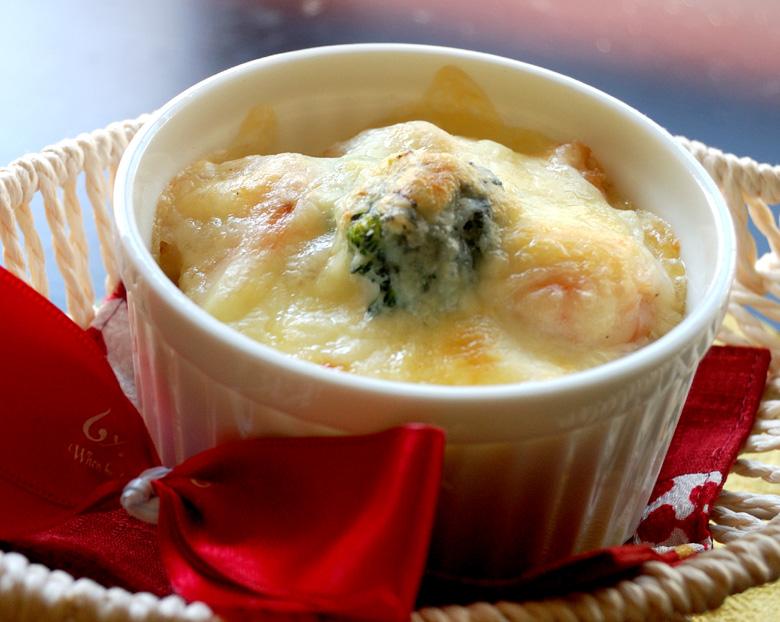 海老とブロッコリーの長芋グラタン