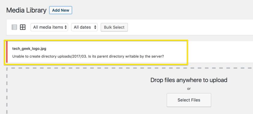 Upload folder not writable