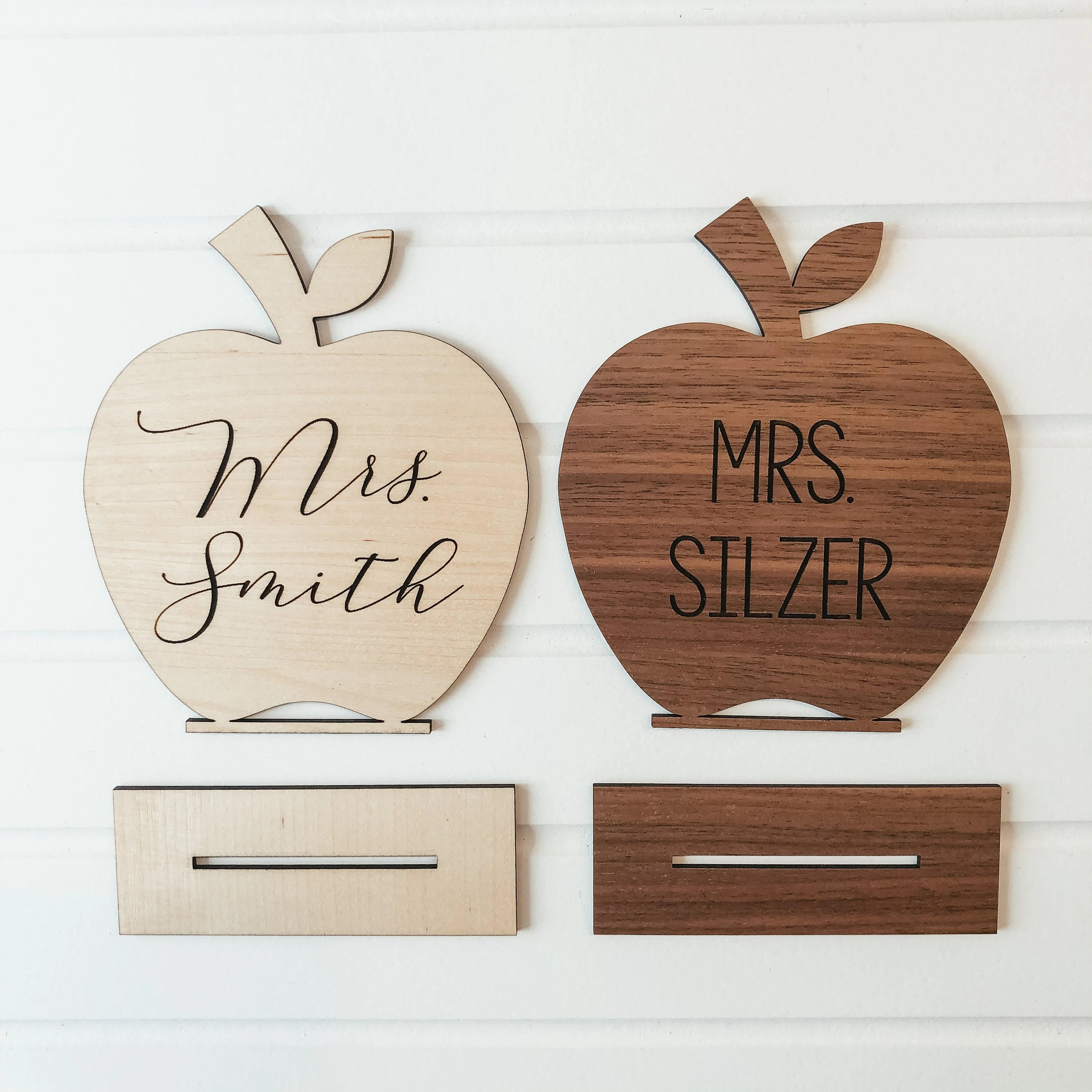 Personalized Desk Name Sign Wooden Apple Teacher Desk Sign image 1