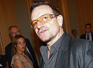 O vocalista do U2, Bono, que elogiou o Brasil em palestra do TED, evento de tecnologia realizado nos EUA