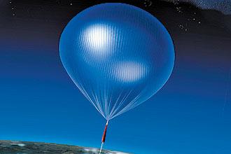 Ilustração reconstitui o voo do balão Arcade, que registrou ruido de rádio seis vez maior do que o previsto