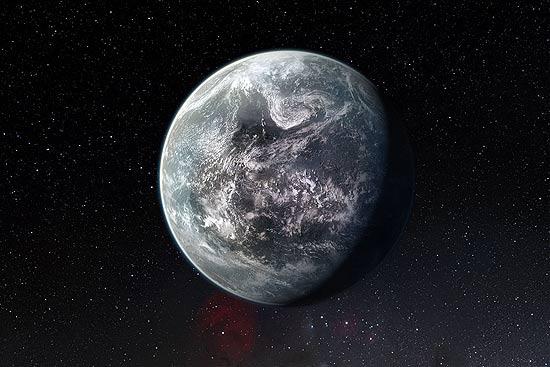 Ilustração artística do HD 85512b, planeta localizado fora do Sistema Solar que pode conter água líquida