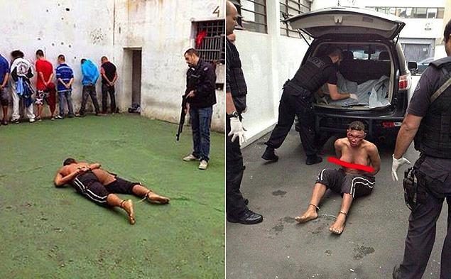 Fotos da travesti Verônica Bolina espancada e nua; imagens foram postadas em páginas do Facebook