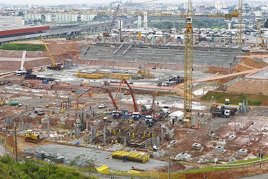 Obras do estádio do Corinthians em dezembro