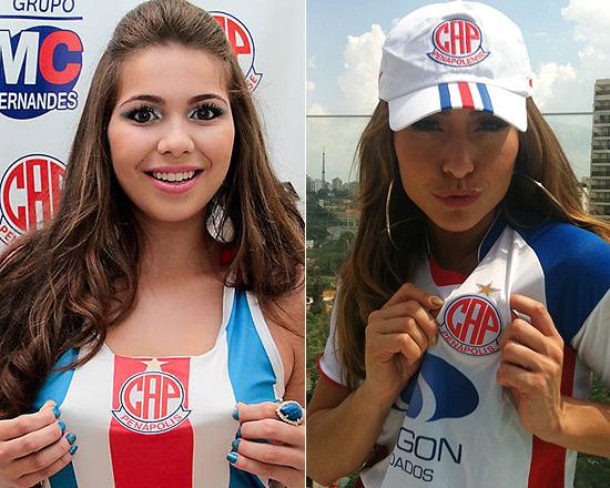 A estudante Ingrid Ribeiro, 18, musa do Penapolense, e a apresentadora Sabrina Sato, 31, embaixadora do clube