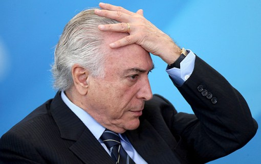 Brazil's President Michel Temer reacts during a ceremony at the Planalto Palace in Brasilia, Brazil July 13, 2017. REUTERS/Adriano Machado TPX IMAGES OF THE DAY ORG XMIT: BSB202