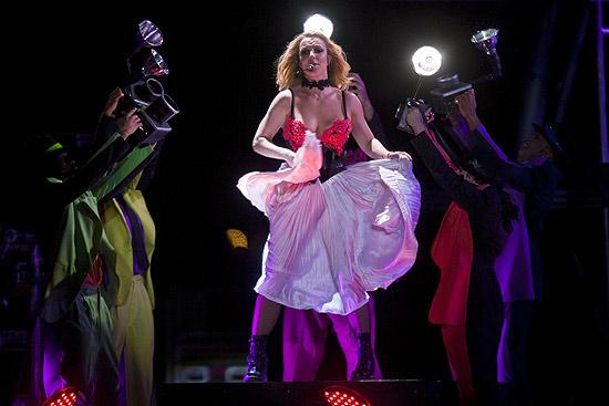 A cantora americana Britney Spears durante show na Arena Anhembi, em São Paulo, na noite de sexta (18)