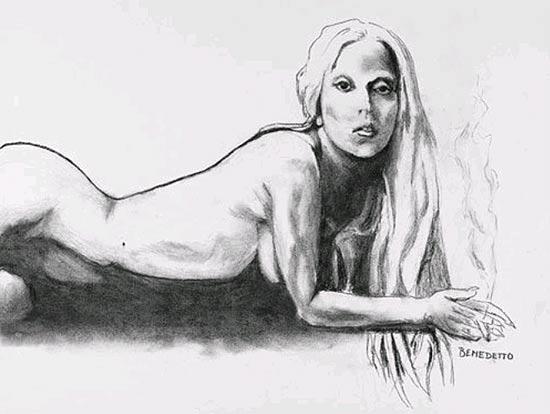 Desenho de Lady Gaga nua feito e assinado por Tony Bennett