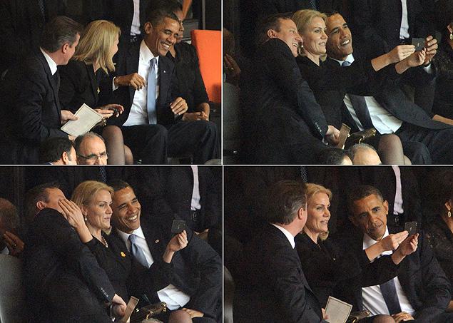 Sequência de imagens com David Cameron, Helle Thorning-Schmidt e Obama tirando um 'selfie' e checando resultado