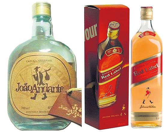 Embalagens da cachaça mineira João Andrante e do uísque Johnnie Walker