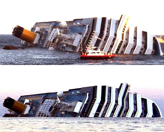 Imagens mostram evolução do afundamento do Costa Concordia, naufragado na sexta-feira (13) na ilha de Giglio