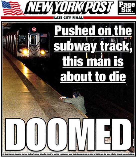 """Capa do jornal """"New York Post"""" que mostra homem prestes a morrer atropelado em estação de metrô"""