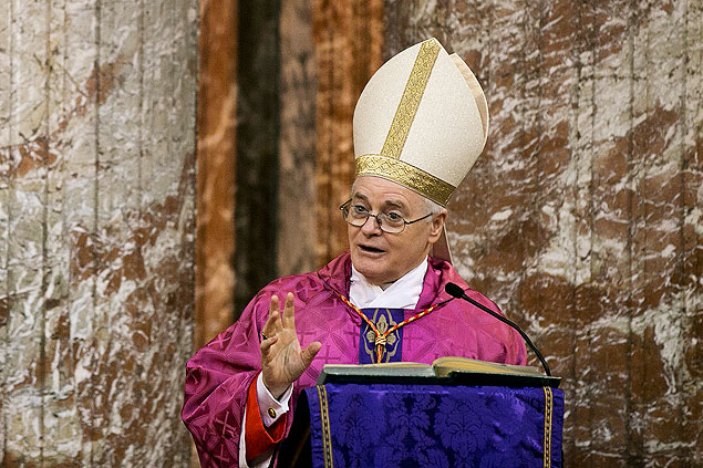 O cardeal brasileiro dom Odilo Scherer celebra missa na Igreja Sant'Andrea al Quirinale em Roma