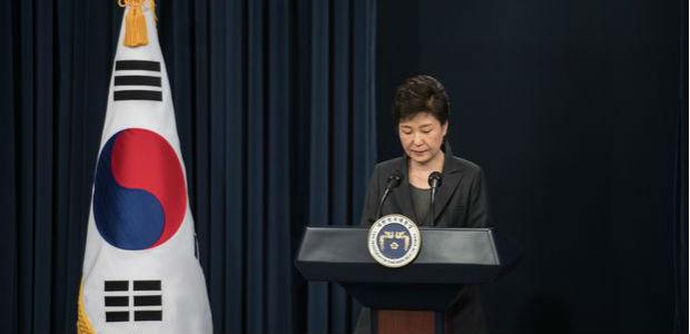 Presidente Park Geun-hye faz discurso quando ainda era presidente