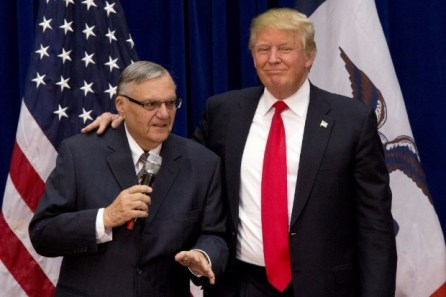 "FILE - In this Jan. 26, 2016 file photo, then-Republican presidential candidate Donald Trump is joined by Joe Arpaio, the sheriff of metro Phoenix, at a campaign event in Marshalltown, Iowa. President Donald Trump has pardoned former sheriff Joe Arpaio following his conviction for intentionally disobeying a judge's order in an immigration case. The White House announced the move Friday night, Aug. 25, 2017, saying the 85-year-old ex-sheriff of Arizona's Maricopa County was a ""worthy candidate"" for a presidential pardon. (AP Photo/Mary Altaffer, File) ORG XMIT: NY117"