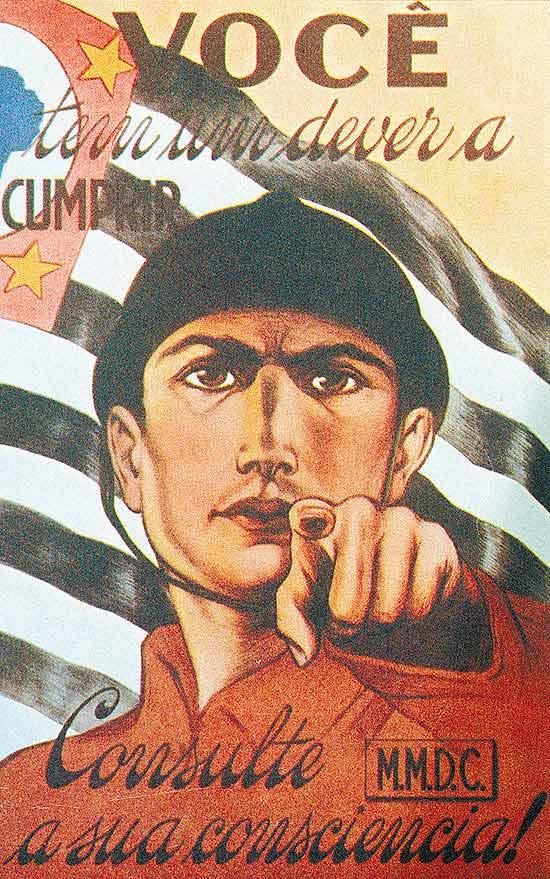 Cartaz do MMDC que convocava os paulistas a combater o governo de Getúlio Vargas em 1932