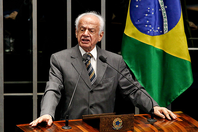 Pedro Simon (PMDB), candidato à reeleição a uma cadeira no Senado pelo Rio Grande do Sul