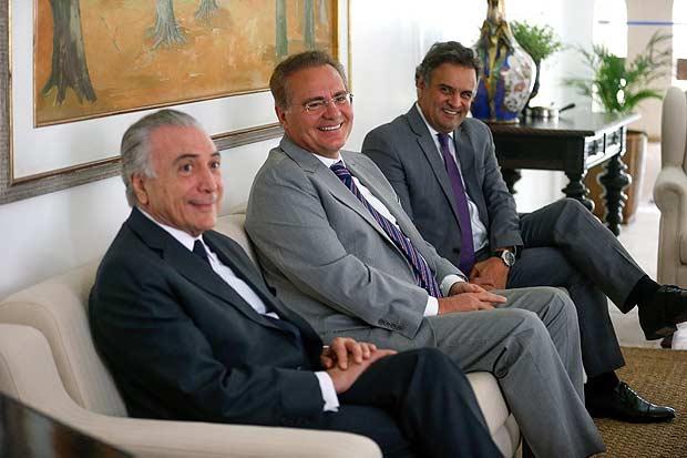 Temer, se reúne com o presidente do senado, Renan Calheiros, e o presidente do PSDB, Aécio Neves