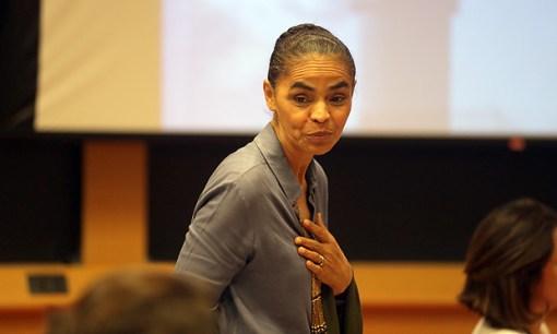 Marina Silva durante debate no Insper, em São Paulo, em 2015