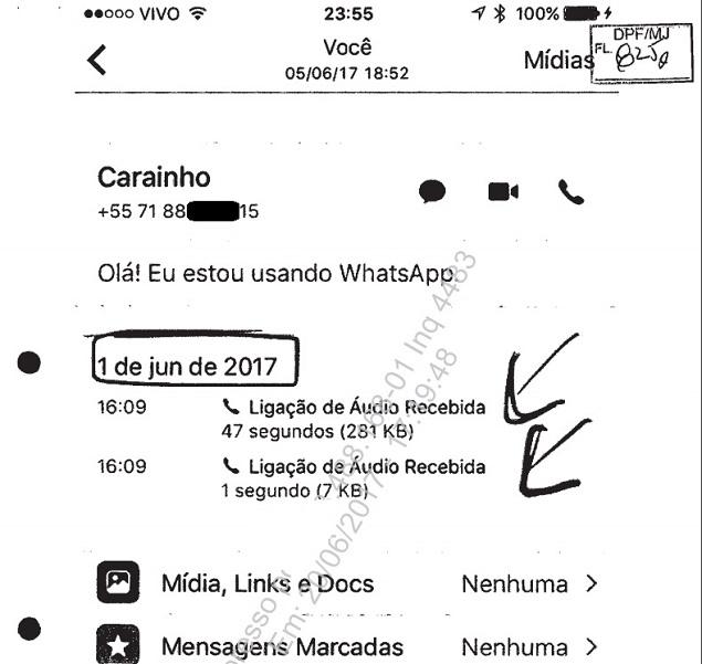 """Registro de ligação feita pelo ex-ministro Geddel Vieira Lima (""""Carainho"""") à mulher de Lucio Funaro, em 1° de junho, entregue à PF Vamos reproduzir isso em flash que devemos subir logo mais sobre o Geddel sondando a mulher do Funaro sobre eventual delação dele."""