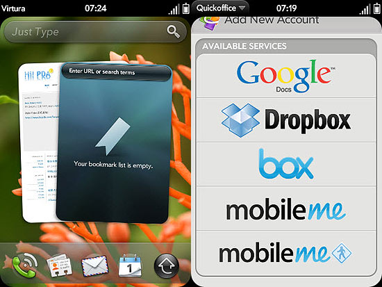 Telas do webOS, sistema da Palm, adquirida pela HP, utilizado em tablets de pouco sucesso
